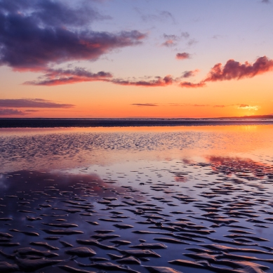 A colourful sunset over Murvagh beach in Co. Donegal.