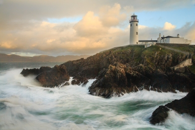 Rough seas below the famous lighthouse at Fanad Head, Co. Donegal.