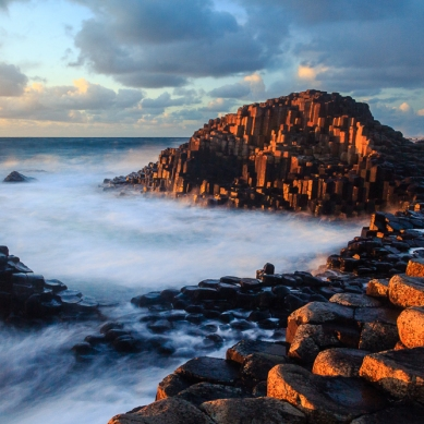 Last of the light catching the Giant's Causeway, Co. Antrim at sunset.