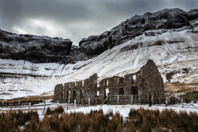 A wintry view of the old miners' school in the Gleniff Horseshoe in the Dartry Mountains, Co. Sligo.