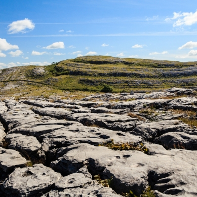 A view towards Mullaghmore in the fantastic landscape of the Burren in Co. Clare.