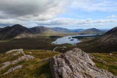 Looking down on the Inagh Valley from the Twelve Bens mountains in Co. Galway.